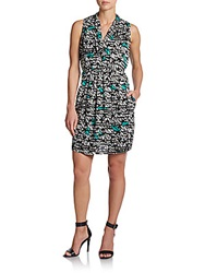 Collective Concepts Graphic Print Wrap Dress Black Mint
