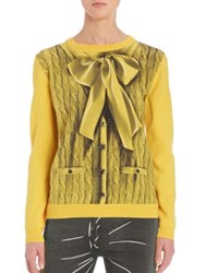 Moschino Faux Cable Knit Bowtie Wool And Cashmere Sweater Yellow