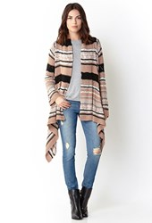 Forever 21 Contemporary Boho Babe Striped Cardigan Tan Black