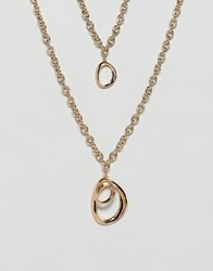 Warehouse Two Row Chain Necklace In Gold