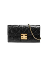Gucci Padlock Continental Wallet Women Leather Metal One Size Black