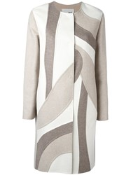 Manzoni 24 Patchwork Single Breasted Coat Nude Neutrals