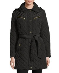 Michael Michael Kors Diamond Quilted Belted Jacket Brown