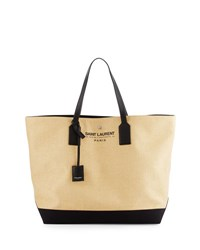 Saint Laurent Large Beach Raffia Shopping Tote Bag Naturel