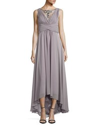 Vince Camuto Beaded Illusion Hi Low Chiffon Gown Silver