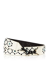 Rebecca Minkoff Multi Stud Guitar Handbag Strap Antique White Black