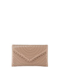 Alaia Vienne Laser Cut Leather Envelope Clutch Beige
