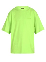 Balenciaga Ego Printed Cotton T Shirt Green