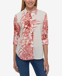 Tommy Hilfiger Cotton Printed Roll Tab Shirt Only At Macy's Cinnabar Multi