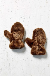 Urban Outfitters Fur Mitten Chocolate