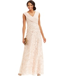 Patra Cap Sleeve Sequin Embroidered Gown Apricot