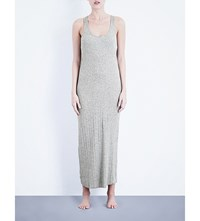Skin Ribbed Knit Cotton Nightgown Heather Grey
