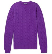 Ralph Lauren Purple Label Slim Fit Cable Knit Cashmere Sweater Purple