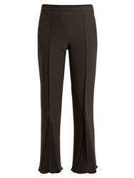 Marco De Vincenzo Pleated Crepe Cropped Trousers Black