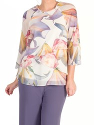Chesca Layered Chiffon Top Blonde Multi