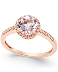 Macy's Morganite 1 1 10 Ct. T.W. And Diamond 1 8 Ct. T.W. Ring In 14K Rose Gold