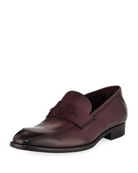Ermenegildo Zegna New Flex Leather Penny Loafers Purple
