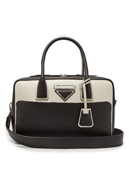 Prada Leather Bowling Bag Black White