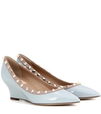 Valentino Rockstud Patent Leather Wedges Blue
