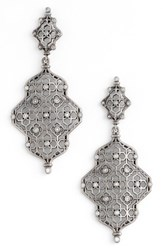 Kendra Scott Women's Renee Drop Earrings White Cz Antique Silver