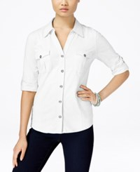 Styleandco. Style And Co. Roll Tab Jersey Button Down Shirt Only At Macy's Bright White