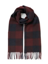 Barbour Moons Lambswool Check Scarf Red Navy