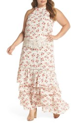 Glamorous Plus Size Floral And Lace Tiered Two Piece Dress Cream Red Floral