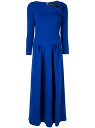 Roland Mouret Eady Asymmetric Neck Maxi Dress Blue