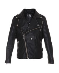 Molo Leather Quilted Trim Motorcycle Jacket Black