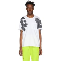 Neil Barrett White Shadow Anemone Loose Neck T Shirt