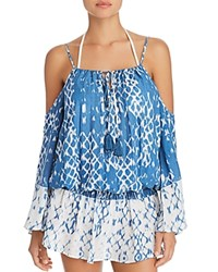 Surf Gypsy Cold Shoulder Dress Swim Cover Up Denim Tie Dye