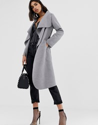 Prettylittlething Oversized Waterfall Belted Coat In Grey