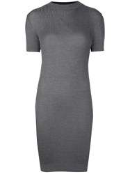 Vera Wang Ribbed Knit Mini Dress Grey