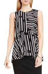Vince Camuto Women's Print Sleeveless Ruffle Front Blouse Rich Black