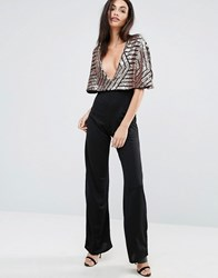 Club L Jumpsuit With Brocade Sequin Cape Black Rose Gold