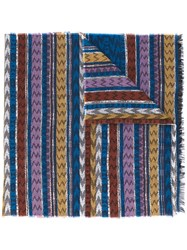 Missoni Zig Zag Crochet Knit Scarf Women Cotton Modal One Size Blue