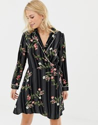 Liquorish Wrap Front Floral Print Dress Black Print