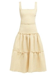 Luisa Beccaria Tiered Striped Linen Blend Midi Dress Yellow Print