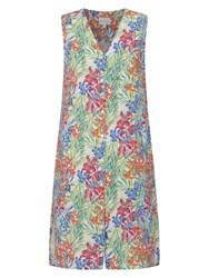 East Linen Aloha Print Dress White