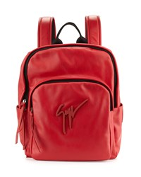 Men's Tonal Logo Leather Backpack Giuseppe Zanotti Red