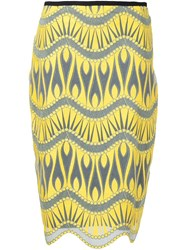 Nicole Miller Jacquard Pencil Skirt Yellow And Orange
