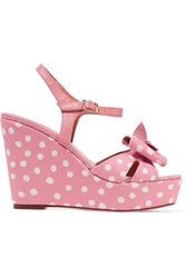 Red Valentino Redvalentino Leather Trimmed Polka Dot Canvas Wedge Sandals Baby Pink