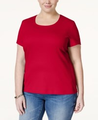 Karen Scott Plus Size Scoop Neck T Shirt Only At Macy's New Red Amore