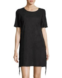 1.State Faux Suede Side Fringe Dress Black