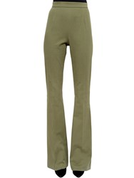 Balmain High Rise Stretch Twill Flared Pants Military Green
