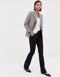 Mango Tailored Flare Trouser In Black