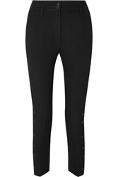 Ann Demeulemeester Cropped Wool And Cotton Blend Twill Tapered Pants Black