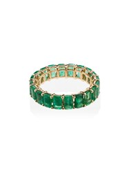 Shay 18Kt Gold Eternity Emerald Embellished Ring Green