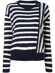 Roberto Collina Contrast Stripe Sweater Women Cotton S Blue