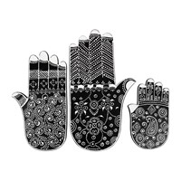 Day Birger Et Mikkelsen Fatima Hand Ornaments Set Of 3 Black White